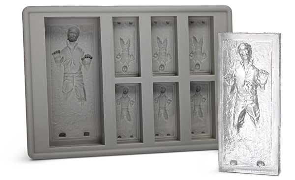 han solo ice cube tray, han solo ice cubes, han solo accessories, star wars ice cubes